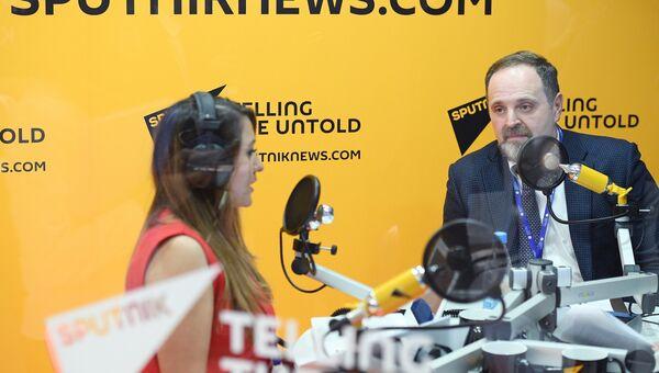Министр природных ресурсов и экологии РФ Сергей Донской во время интервью радио Sputnik на Санкт-Петербургском международном экономическом форуме 2017