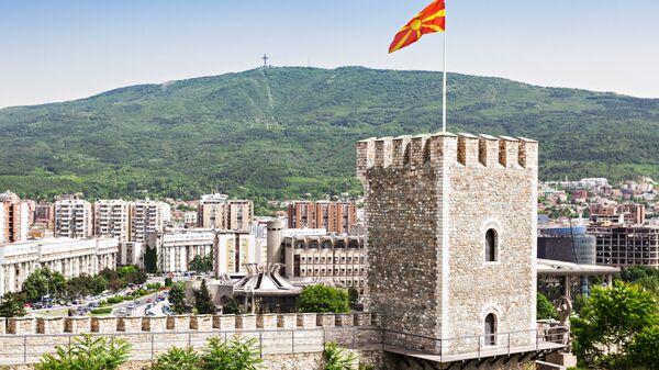 Вид на крепость Кале и город Скопье, Македония. Архивное фото
