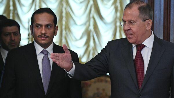 Министр иностранных дел РФ Сергей Лавров и министр иностранных дел Катара Мухаммед Аль Тани во время встречи в Москве. 10 июня 2017