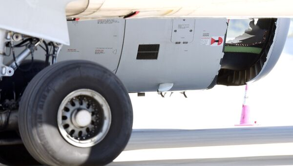 Поврежденный двигатель самолета Airbus A330, приземлившегося в Сиднее, Австралия. 12 июня 2017
