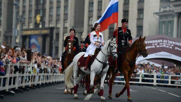 Всадники Кремлевской школы верховой езды во время праздника в честь Дня России. Архивное фото