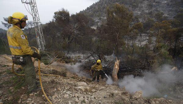 Пожарные во время лесного пожара на испанском острове Ибица. Архивное фото