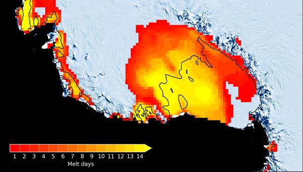 Карта ледников Западной Антарктиды, таявших прошлым летом
