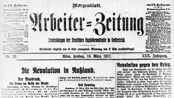 Австрийская газета Арбайтер Цайтунг от 16 марта 1917 года. Заголовок: Революция в России
