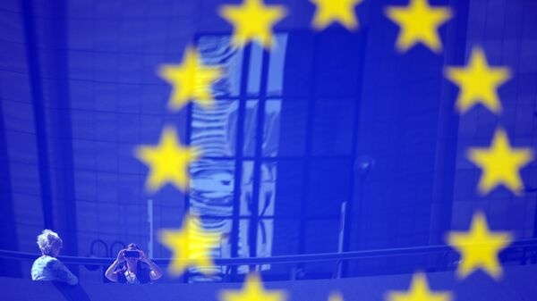 Флаг ЕС в Европейском квартале в Брюсселе. Архив