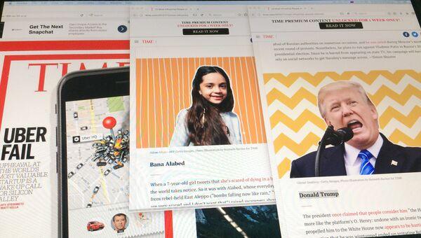 Монитор с веб-страницами сайта журнала Time. Архивное фото