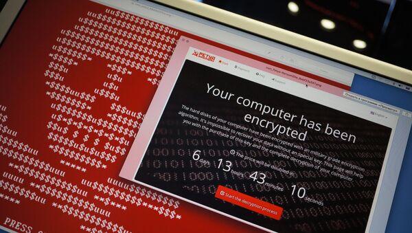 Информационные сообщения вируса-вымогателя Petya на экране монитора. Архивное фото