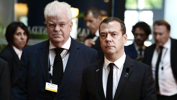 Дмитрий Медведев перед началом церемонии прощания с бывшим федеральным канцлером Федеративной Республики Германия Гельмутом Колем. 1 июля 2017