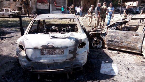 На месте взрыва в Дамаске, Сирия. 2 июля 2017