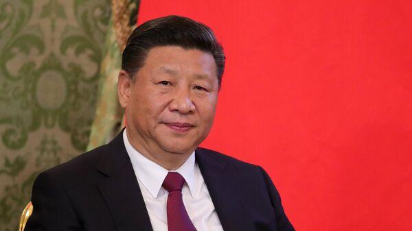 Председатель Китайской Народной Республики Си Цзиньпин во время встречи с президентом РФ Владимиром Путиным. 4 июля 2017