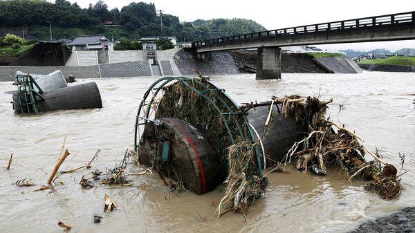 Последствия ливней в городе Хита в префектуре Оита