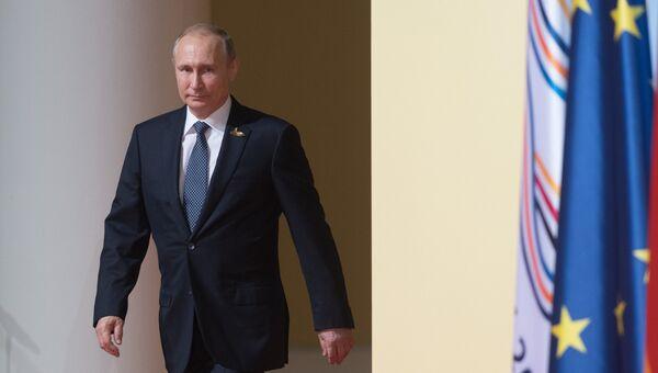 Президент РФ Владимир Путин принимает участие в саммите Группы двадцати в Гамбурге. 7 июля 2017