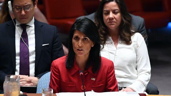 Постпредставитель США при ООН Никки Хейли на заседании Совета Безопасности ООН. 5 июля 2017