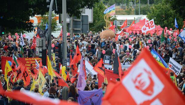 Акция протеста в связи с проведением саммита Группы двадцати в Гамбурге. 8 июля 2017