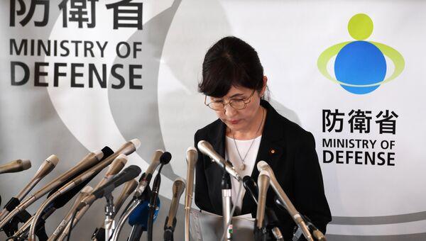 Министр обороны Японии Томоми Инада на пресс-конференции в Министерстве обороны в Токио. 28 июля 2017