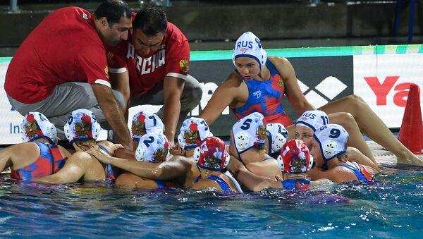 Игроки сборной России в матче 1/2 финала по водному полу среди женщин между сборными России и США