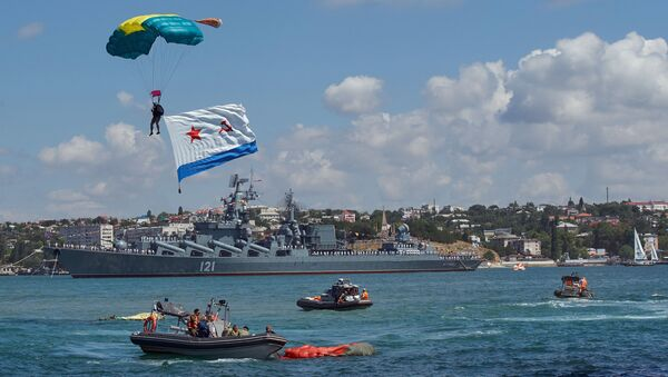 Во время военно-морского парада в честь Дня Военно-Морского Флота России в Севастополе. 30 июля 2017