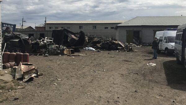 Последствия взрыва в пункте приёма металлов в Железнодорожном районе Читы. 10 августа 2017