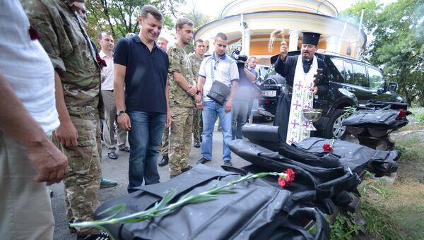Проводы бойцов батальона нацгвардии Шахтерск в Киеве в зону силовой операции. Архивное фото