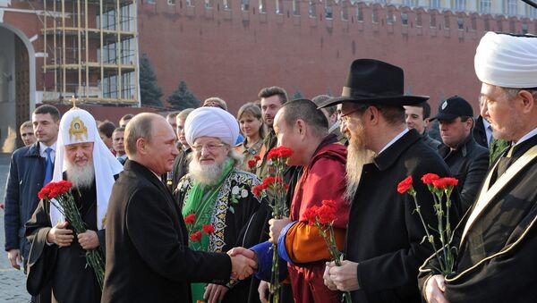 Путин и главы традиционных религиозных конфессий. Архивное фото