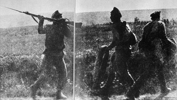 Солдаты ударного батальона, созданного для борьбы с дезертирами во время Первой мировой войны