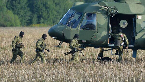 Белорусские военнослужащие на учениях Запад-2017 в Могилевской области Белоруссии