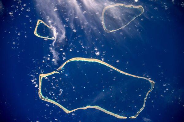 Каролинские острова, снятые с борта МКС космонавтом Роскосмоса Сергеем Рязанским
