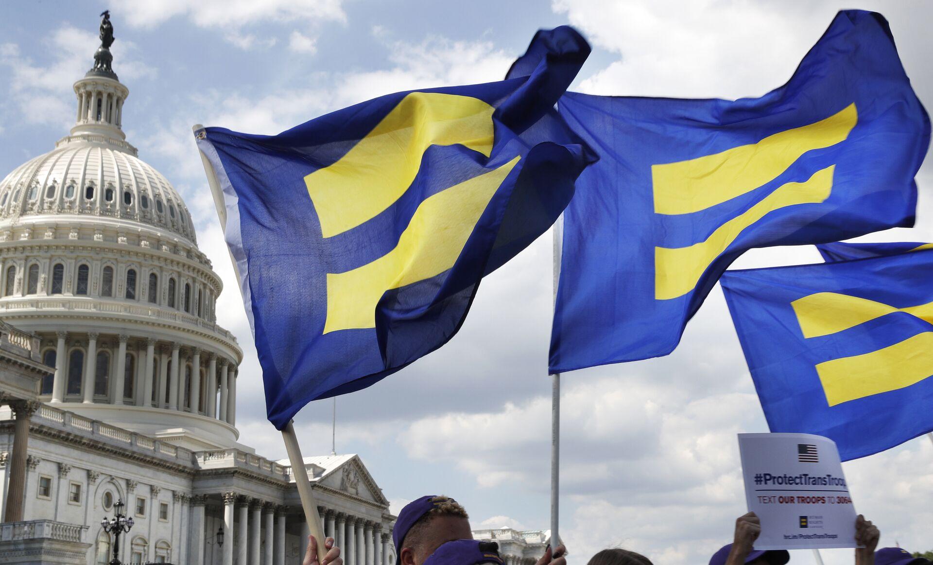 Акция в поддержку американских трансгендеров, находящихся на военной службе. 26 июля 2017   - РИА Новости, 1920, 28.01.2021