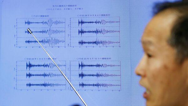 Японский метеоролог показывает график сейсмической активности зафиксированной в КНДР. 3 сентября 2017