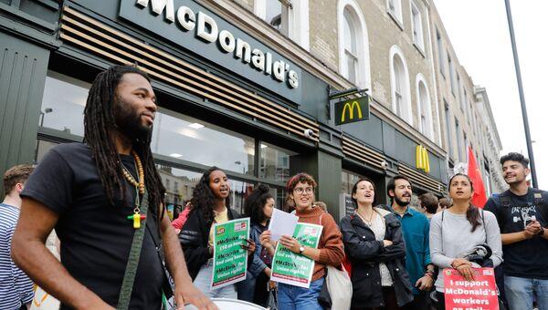 Забастовка сотрудников McDonald's в Лондоне. 4 сентября 2017