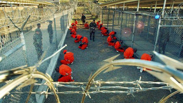 Заключенные в тюрьме Гуантанамо, Куба. Архивное фото