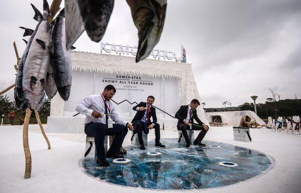 Стенд Камчатки на выставке Улица Дальнего Востока на набережной бухты Аякс в рамках Восточного экономического форума во Владивостоке