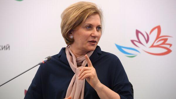 Руководитель Федеральной службы по надзору в сфере защиты прав потребителей и благополучия человека Анна Попова во время конференции Усиление роли женщин для экономического роста и развития на ВЭФ 2017. 6 сентября 2017