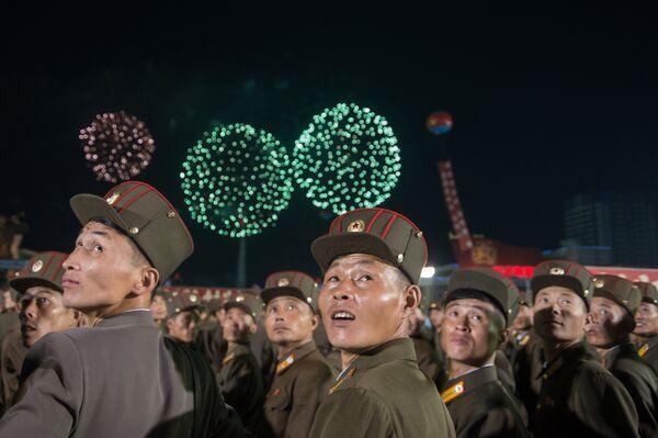 Празднование успешного испытания водородной бомбы в КНДР. 6 сентября 2017
