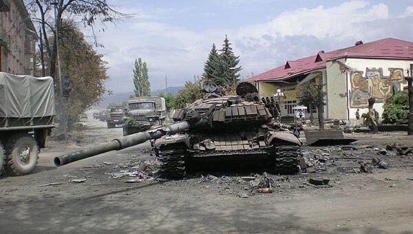 Разрушения в городе Цхинвале в результате августовской войны 2008 года. Архивное фото