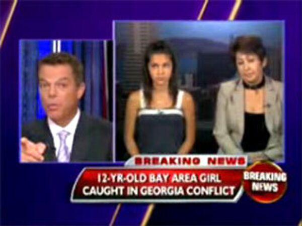 Кадры из интервью телеканалу Fox News в прямом эфире 12-летней осетинки Аманды Кокоевой и ее тети Лоры о бомбежке Цхинвали