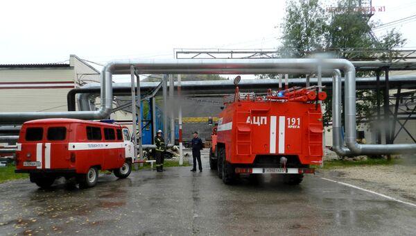 Автомобили МЧС на территории шахты Яреганефть в Коми. 14 сентября 2017