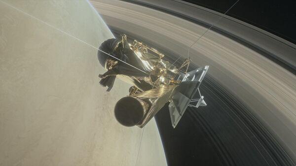 Иллюстрация погружения космического аппарата Кассини в атмосферу Сатурна