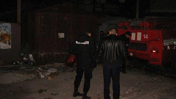 Сотрудники полиции на месте взрыва неизвестного предмета в Умани, Украина. 21 сентября 2017