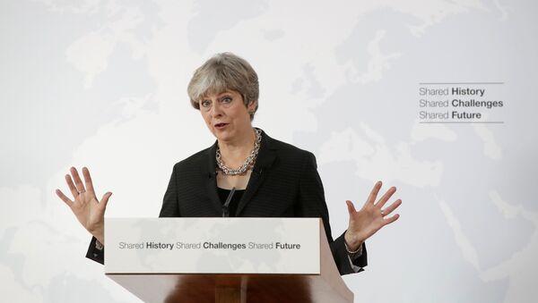 Премьер-министр Великобритании Тереза Мэй во время выступления по Brexit во Флоренции, Италия. 22 сентября 2017