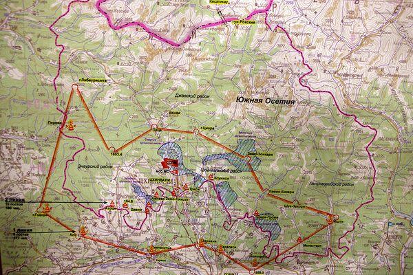 Карта обстановки в зоне грузино-осетинского конфликта