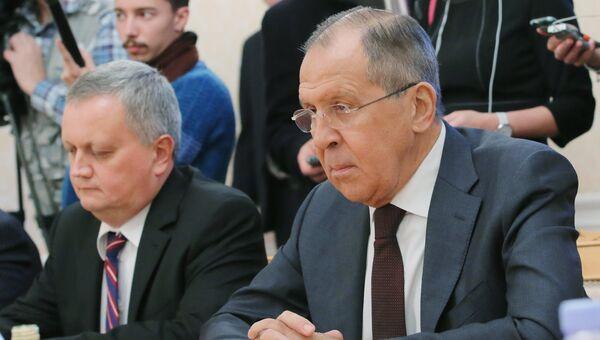 Министр иностранных дел РФ Сергей Лавров во время встречи в Москве с группой американских экспертов. 29 сентября 2017
