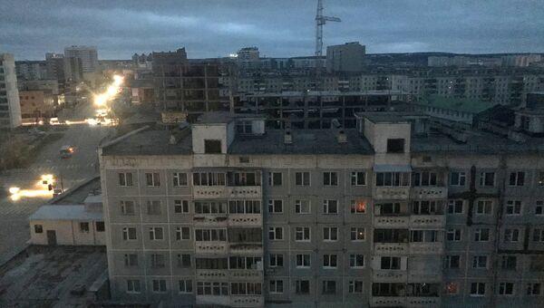 Жилые дома в Якутске во время аварии на Якутской ГРЭС. 1 октября 2017
