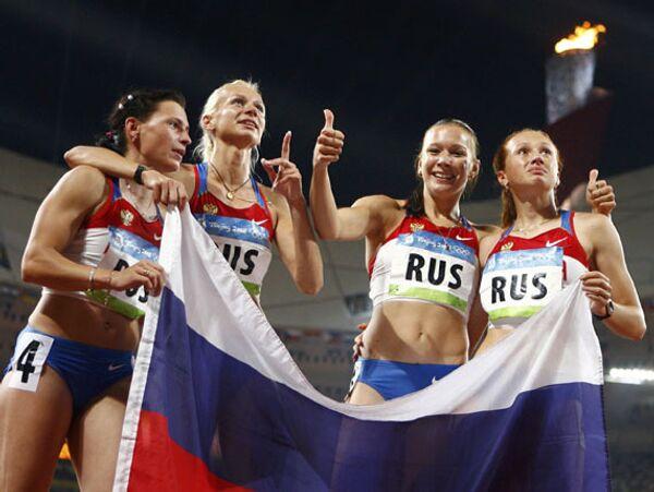 Российские легкоатлетки выиграли золото в эстафете 4 по 100 метров