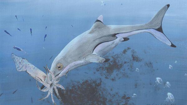 Новорожденный ихтиозавр, поймавший кальмара эпохи динозавров