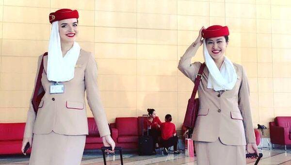 Елизавета Андреева (слева) в авиационном колледже Emirates