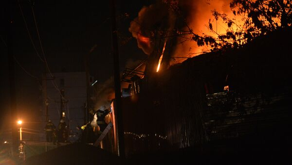 Тушение пожара на рынке Восточный в Ростове-на-Дону. 08.10.2017