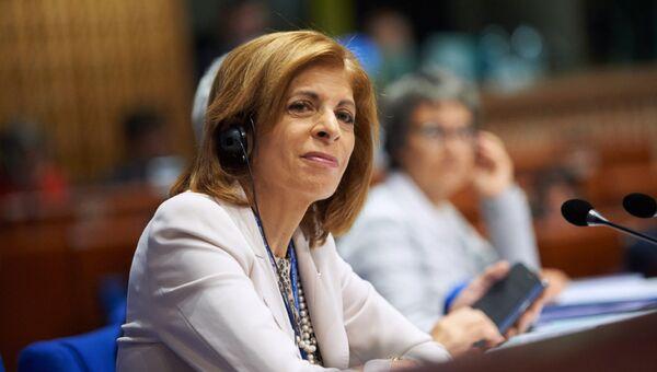 Председатель ПАСЕ Стелла Кириакидес во время заседания. Архивное фото