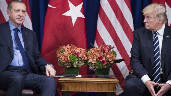 Президент США Дональд Трамп и президент Турции Реджеп Тайип Эрдоган во время встречи