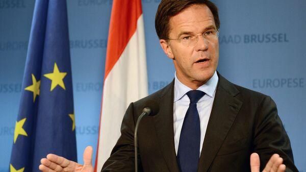 Премьер-министр Нидерландов Марк Рютте на пресс-конференции после заседания Совета Европы в Брюсселе. 20 октября 2017